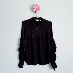 & Other Stories Frill Zip Blouse in Black